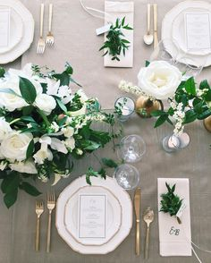 Neutral whites and greens over a taupe linen