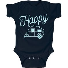 Happy Camper Baby Infant One Piece Camping Onesie. Cute baby clothes and kids clothes for the family camping trip. All at Kidteez! Fun for the whole CAMPING family.