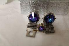 Vintage Silver Tone Blue Purple Rivoli by TreasuresFromUs on Etsy