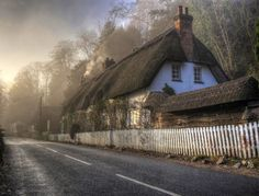 A misty morning in Wherwell, Hampshire, England