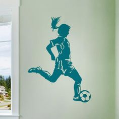 Great wall art for a girls room or a sports themed game room. Soccer Player (girl) Wall Decal from Cozy Wall Art