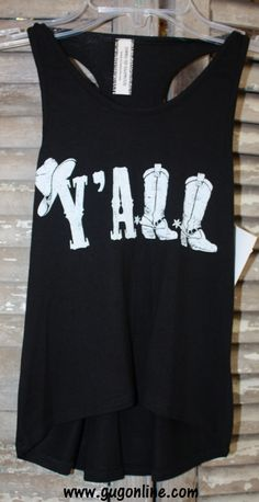 Children's Y'all Tank Top in Black and White $16.95 www.gugonline.com