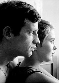 """Jean-Paul Belmondo and Jean Seberg in """"À bout de souffle"""" (Breathless) directed by Jean-Luc Godard, (1960)."""