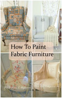 How to paint furniture fabric upholstered chairs New ideas Chalk Paint Fabric, Painting Fabric Furniture, Paint Upholstery, Art Deco Furniture, Upholstered Furniture, Paint Furniture, Fabric Painting, Furniture Projects, Furniture Makeover