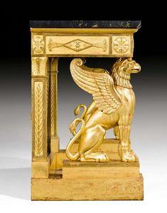 "PRUNK-KONSOLE ""AUX GRIFFONS"", Empire, wohl von F.H.G. JACOB- Empire Furniture, European Furniture, French Furniture, Antique Furniture, Cool Furniture, Furniture Design, Egyptian Furniture, Bronze, Style Empire"