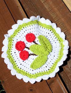 Yarnspirations.com - Lily Cherry Dishcloth - Patterns, free, thanks so xox ☆ ★   https://www.pinterest.com/peacefuldoves/
