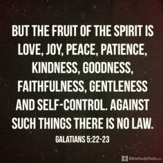 """""""But the fruit of the Spirit is love, joy, peace, patience, kindness, goodness, faithfulness, 23 gentleness and self-control. Against such things there is no law."""" Galatians 5:22–23"""
