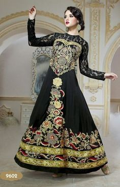 Marvellous Black Pure Georgette Indo Western Party Wear Gown Buy Apparel