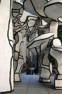 black and white - Four trees - Jean Dubuffet - Sculpture - Chase Bank Plaza - Downtown NYC Modern Art, Contemporary Art, Instalation Art, Art Brut, Art Sculpture, Outsider Art, Land Art, Art Plastique, Public Art