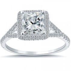 2.02 Carat F-SI2 Princess Cut Diamond Engagement Ring 18k White Gold Pave Halo - Vintage Style Engagement Rings - Engagement - Lioridiamonds.com