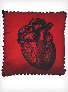 X-Ray Anatomical Heart Satin Pillow by Sourpuss Clothing, Red