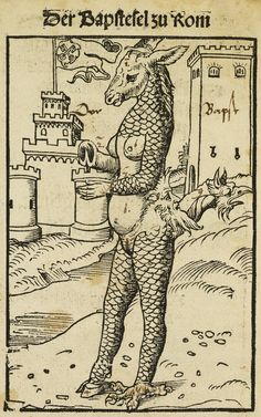'The Donkey-Pope of Rome', a woodcut by Lucas Cranach (1523). This is an example of allegorical Lutheran propaganda.