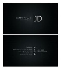 Serious and elegant Free Black Business Card Templates, designed on carbon high definition background in Adobe Photoshop. You can download for free this fully PSD layered file, with licence for non commercial use, learning and reference use only.