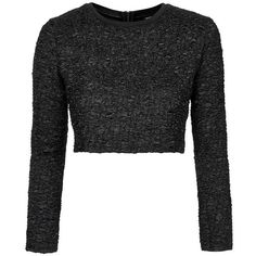 Women's Topshop Textured Crop Sweater ($64) ❤ liked on Polyvore featuring tops, sweaters, crop tops, shirts, topshop shirt, textured sweater, topshop, cropped long sleeve shirt and crop top