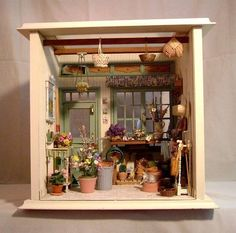 garden shed room boxItems similar to Garden House Miniature Room Box with Artisan Miniatures on EtsyCute miniature garden shed - LOVE This idea!I could make a fake mini succulent garden.Miniature shed (Thinking about building one room at a time for a piec Vitrine Miniature, Miniature Rooms, Miniature Crafts, Miniature Houses, Miniature Furniture, Miniature Gardens, Miniature Kitchen, Miniture Things, Fairy Houses