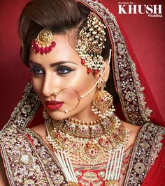Be bold - wear read! Rahat Danish MUA creates this radiant red look for your Big Day +44(0)7538 385 578 Outfit: Brocade Jewellery: NK collection