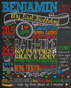 Train themed customized chalkboard birthday sign for first birthday party