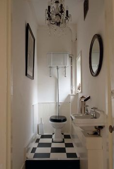Find a Firm: Search the Remodelista Architect & Designer Directory I love this bathroom. Guest Toilet, Small Toilet, Downstairs Toilet, Guest Bath, Tiny Bathrooms, Vintage Bathrooms, Bathroom Chandelier, Antique Chandelier, Black Chandelier