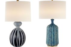 """Gannet ceramic table lamp in drizzled cobalt with linen shade and brass hardware, 17.5"""" w. x 29"""" h., $500; Culloden table lamp in pebbled aquamarine with linen shade, 18"""" w. x 32.5"""" h., $500."""