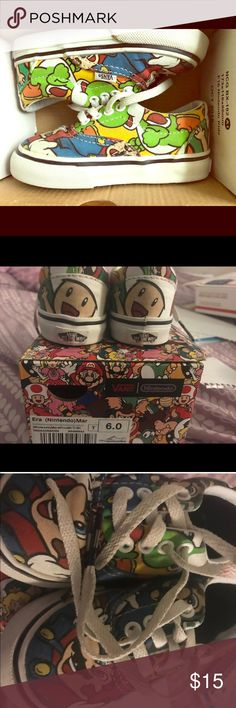 Mario Vans 6c. Gently Used Gently Used. Mario Vans. 6c.. A tiny opening on top of left shoe. Barely noticeable unless you physically pull it apart Vans Shoes