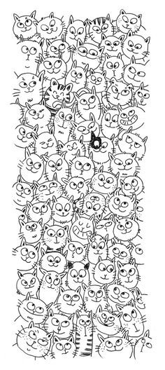 Cat Cats Kitty Kitties Kitten Kittens Feline Gatos  Katze chat gatto cat котэ  kočka druku gato katt macska tulostettava Coloring pages colouring adult detailed advanced printable Kleuren voor volwassenen coloriage pour adulte anti-stress kleurplaat voor volwassenen Line Art Black and White Abstract Doodle