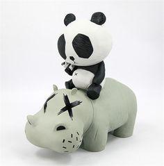 Hippo Panda Grey 10-inch figure by cacooca - Tenacious Toys® - 1