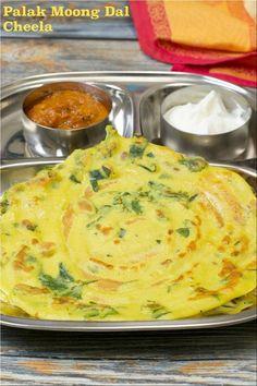 Palak Moongdal Cheela | Spinach Moong Crepes