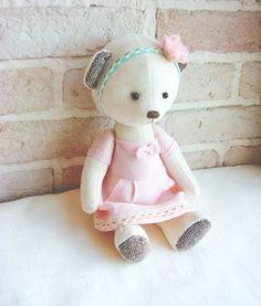 Teddy Bear Milky Soft Velvet Handmade Toy by sistersdreams on Etsy, £24.60