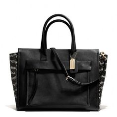 The Bleecker Riley Carryall In Two Tone Python Embossed Leather from Coach I think I need this! Coach Handbags, Coach Purses, Purses And Handbags, Coach Bags, Fashion Handbags, Coach Outlet, Cheap Coach, Carry All Bag, Replica Handbags