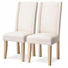 Charlie Modern Wingback Dining Chair with Nailheads - Cream (Set of : Target Black Dining Chairs, Farmhouse Dining Chairs, Upholstered Dining Chairs, Modern Chairs, White Chairs, Metal Chairs, White Accent Chair, Accent Chairs Under 100, Cafe Chairs