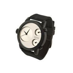 Reloj 666 Barcelona colección Colour Black, Caja de acero negro con tratamiento IP, esfera plata y correa de silicona negra. Triple Huso Horario  http://www.tutunca.es/reloj-colour-black-ip-plata