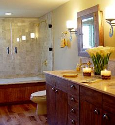 I like this idea for a bathroom! It's bright and classy. It'll help you wake up during those dreaded mornings :)