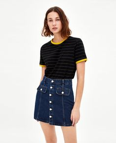 Zara stripe t shirt Wardrobe Basics, Zara United States, Denim Skirt, Tees, Skirts, Sleeves, T Shirt, Women, Fashion