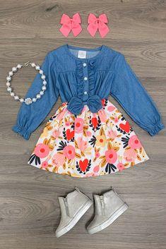 Denim Heart Floral Dress Kids Outfits Girls, Little Girl Outfits, Cute Girl Outfits, Cute Outfits For Kids, Toddler Girl Outfits, Girls Dresses, Kid Outfits, Toddler Girls, Baby Girl Fashion