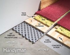How to Carpet a Basement Floor The Family Handyman Prevent damp basement floors from ruining carpet and other finished flooring. Install dimpled polyethylene to create an air space between the concrete and the finished floor, sealing off dampness and gi Concrete Basement Floors, Best Flooring For Basement, Damp Basement, Basement Carpet, Basement Gym, Basement Makeover, Basement Walls, Basement Bedrooms, Basement Renovations