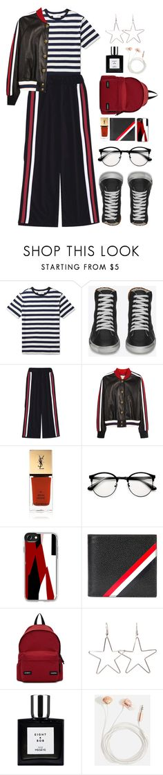 """""""Stealing from bro's closet"""" by altrisa-mulla ❤ liked on Polyvore featuring Officine Générale, Yves Saint Laurent, Gucci, Casetify, Thom Browne, Vetements and Skinnydip"""