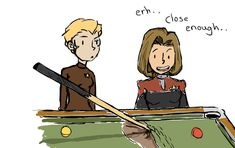 Just a little illustration of Seven playing pool for the first time. Seven Of Nine, Captain . Seven plays pool Star Trek Quotes, Play Pool, The Final Frontier, Star Trek Voyager, Great Love Stories, Trekking, Nerdy, Movie Tv, Fandoms