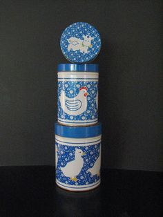 Tin Cannisters Country Blue Metal Nesting by FingerLakesFinds