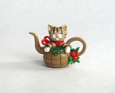 SALE Miniature Christmas Tabby Kitten Cat in by ArtisticSpirit