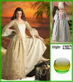 Simplicity 4092 Pirate of the Caribbean Side Bustle Dress Pattern