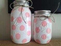 Polka Dot Colored Mason Jars Home Decor Nursery Decor by Basix,