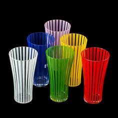 """Strict"" glasses by Bengt Orup Kosta Boda, Glass Company, Drinking Glass, Gadgets And Gizmos, Kitchen Cupboards, Vintage Glassware, Kitchen Colors, Lassi, Rainbow Colors"
