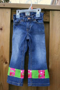 Extending Jeans Life - My daughter outgrew these jeans but using the tutorial from Trotter Sweet Peas I was able to add length to give these jeans a longer life.  She still has plenty of room in the waist but outgrew the length.  It works out perfectly!  #sewing