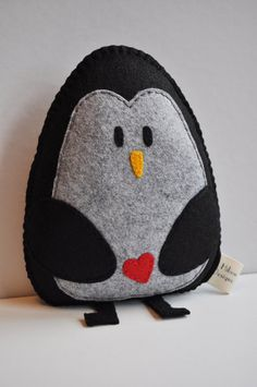Love Penguin Plush pillow - hand sewn black and grey felt penguin with rosy or red heart - plush valentine - OOAK. $45.00, via Etsy.