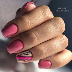 Pink Gel Nails, Pink Manicure, Gelish Nails, Green Nails, Accent Nail Designs, Acrylic Nail Designs, Nail Art Designs, Cute Nails, Pretty Nails