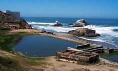 There's not much left of the Sutro Baths (SF), just some concrete foundations that hint at the grandeur of the former indoor pool and bath house.  This was no rec pool or day spa.  When it opened in 1896, Sutro Baths was the world's largest indoor bathing facility.