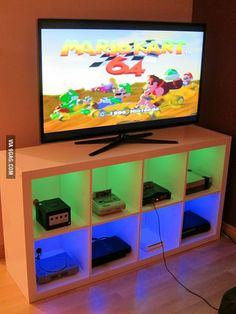 """I modified an Ikea bookshelf to make a console cabinet. Very happy with the finished product!"" (image only)"