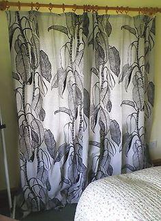 Vintage 1970s Long Textured Cotton Curtains Grey Black Big Leaf Design View