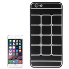 Brushed Texture Grids Dents Plastic Hard Case for iPhone 6 Plus(Black)