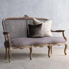 Eloquence One of a Kind Vintage Settee Distressed Old Gilt Chintomby Chintomby Nasafi Grayce European Furniture, French Furniture, Classic Furniture, Sofa Furniture, Shabby Chic Furniture, Luxury Furniture, Vintage Furniture, Furniture Design, Vintage Settee